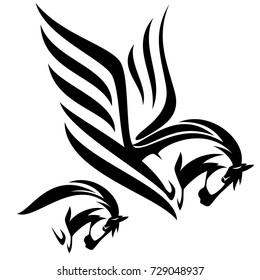 pegasus and horse black and white side view head vector design