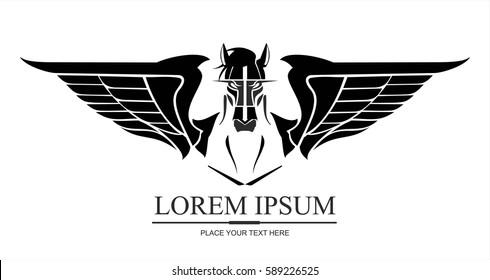 pegasus horse logo in black on white background.