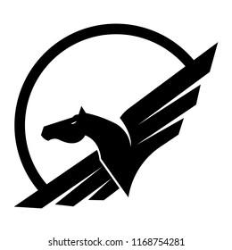 Pegasus horse logo vector.
