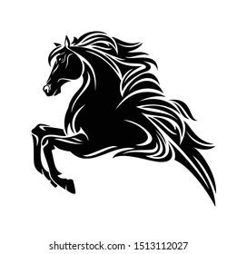 pegasus pegasus-pegasus-seitenansicht - griechischer mythologie-geflügelter Hengst, schwarz-weißer Vektorillustration