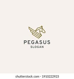 Pegasus horse wing logo icon design template. Elegant, Luxury, Gold premium vector