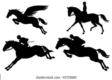 pegasus and horses silhouette collection on the white background vector eps10