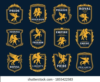 Pegasus icons. Heraldic winged horses symbols. Royal coat of arms, company emblem or college vintage badge with rearing on hind legs pegasus golden silhouette, shield frames and ornaments vector