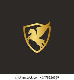 Pegasus illustration icon winged logo with a golden background with black background shield. minimalist, clean design
