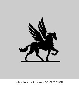 Pegasus Jump horse black vector icon