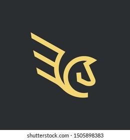 Pegasus Logo Design With Line Style