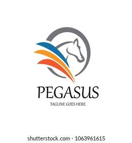 Pegasus logo design template. Vector illustration