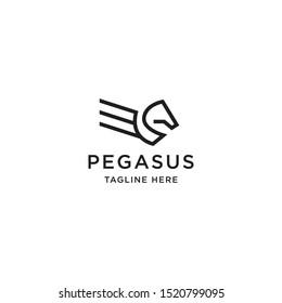 Pegasus Logo Icon Design Template. Line, Minimalist, Modern, Wing, Mystic Vector