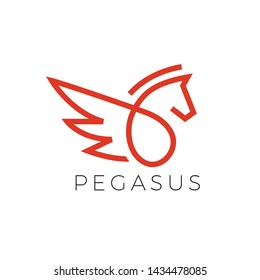 Pegasus Logo Made With Line Style in Red Color