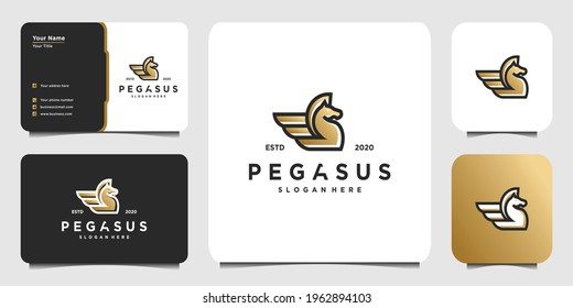 Pegasus logo with modern line art concept, horse, run, fast, farm, and business card for company Premium Vector