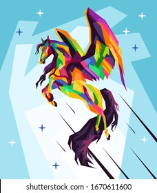 Pegasus mythology illustration,drawing,sketch in style pop art portrait