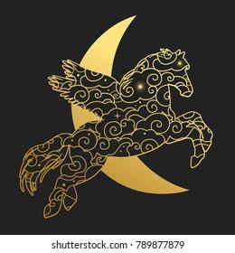 Pegasus on black background. Vector illustration
