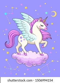 Pegasus on cloud with constellations, crescent, stars and space on background. Vector illustration
