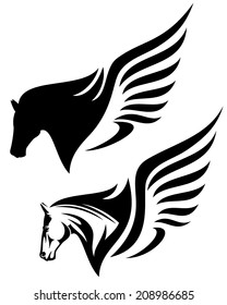 pegasus profile head design - winged horse black and white vector illustration