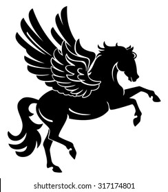 Pegasus rearing, winged horse black silhouette isolated