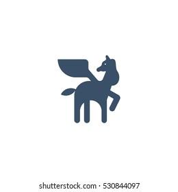 Pegasus Silhouette Vector Logo Design Template Element