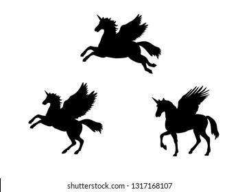 Pegasus Unicorn silhouette mythology symbol fantasy tale