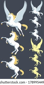 Pegasus, unicorn and stallion clip art. Silhouette versions and pure white versions are also included. No transparency and gradients used.