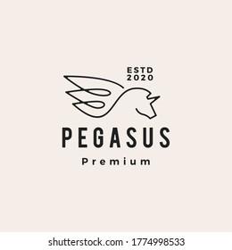 pegasus unicorn wing hipster vintage logo vector icon illustration