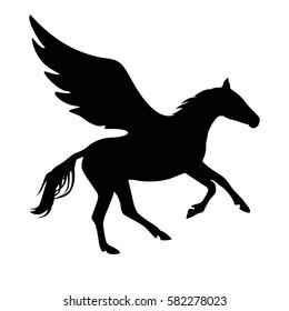 Pegasus vector symbol. Black on white