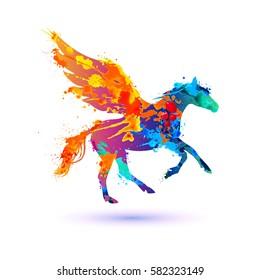 Pegasus vector symbol. Watercolor splash paint