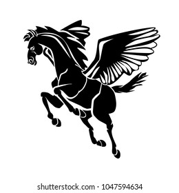 Pegasus, the winged horse in Greek mythology, black vector illustration isolated on a transparent background