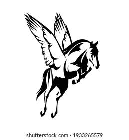 pegasus winged horse - greek mythology inspiration symbol animal flying forward black and white vector design