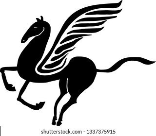 Pegasus, winged horse side view, vector illustration.
