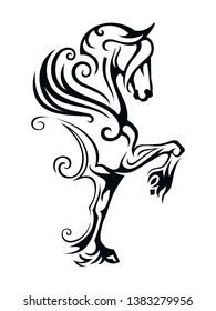 Pegasus winged horse. Vector Image of Pegasus in Tribal Style.