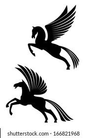 Pegasus winged horses isolated on white background for heraldry design