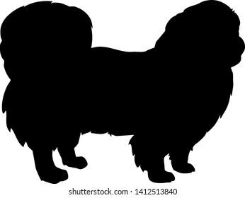Pekingese in black with silhouette