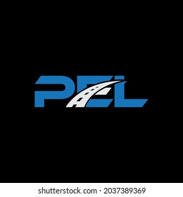 PEL Unique abstract geometric vector logo design