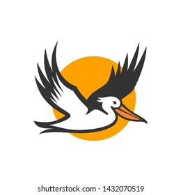 Pelican Bird Logo Abstract Design Vector Template