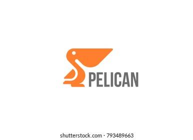 Pelican bird Logo abstract design vector template.