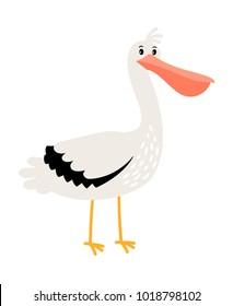 Pelican cartoon bird icon on white background, vector illustration