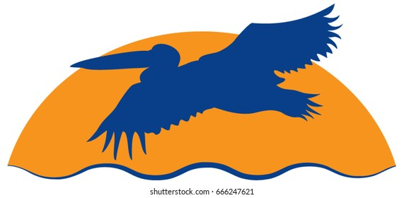 Pelican flying over water at sunset vector illustration