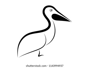 pelican line drawing on white background, design for decorative icon,  Vector illustration