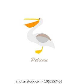 Pelican on a white background. vector illustration