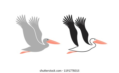 Pelican set. Isolated pelican on white background