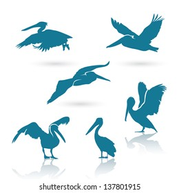 Pelican silhouettes - vector illustration