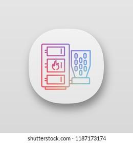 Pellet boiler app icon. UI/UX user interface. Central heating system. Solid fuel boiler. Pellet burner system. Workshops, stores, pavilions, salons, houses heating. Vector isolated illustration