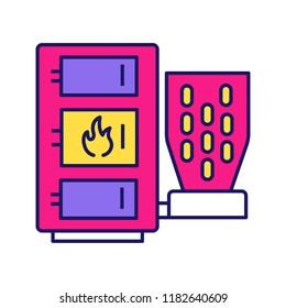 Pellet boiler color icon. Central heating system. Solid fuel boiler. Pellet burner system. Workshops, stores, pavilions, salons, business units, houses heating. Isolated vector illustration