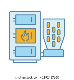 Pellet boiler color icon. Central heating system. Solid fuel boiler. Pellet burner system with three chambers. Workshops, stores, pavilions, salons, houses heating. Isolated vector illustration