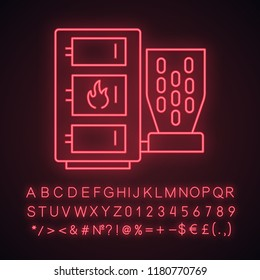 Pellet boiler neon light icon. Central heating system. Solid fuel boiler. Pellet burner system with three chambers. Glowing sign with alphabet, numbers and symbols. Vector isolated illustration