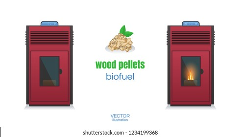 Pellet stove. Fireplace House heating. The Furnace turned on with fire inside. Vector stock illustration.