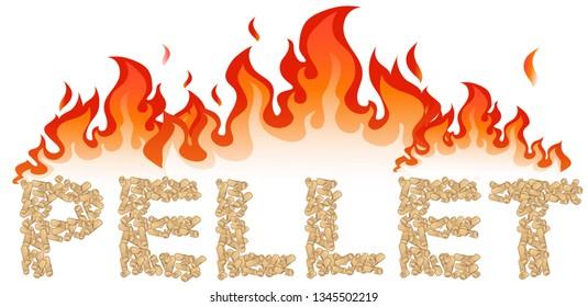pellet written  with flames.vetcor illustration