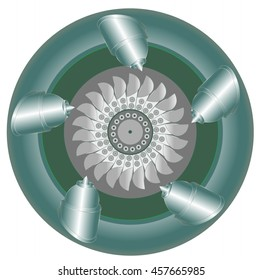 Pelton water turbine - the working area with twenty-two blades, five nozzles for supply of pressurized water