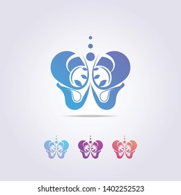 the pelvic bone logo template with a shape resembling a colorful butterfly.