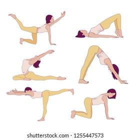 Pelvic floor yoga poses. Woman health. Yoga asans. Exercises for mom to strengthen the pelvic floor muscles. Vector cartoon illustration. Kegel exercises.