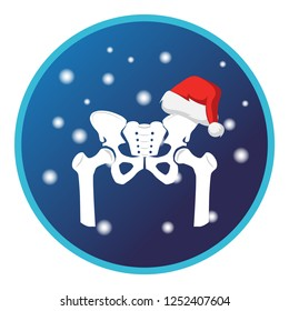 Pelvis bone and Christmas cap, snow. Vector flat design for radiology orthopedic research hospital for body joints, orthopedic, sport medicine, diagnostics or corrective therapy. Vector illustration